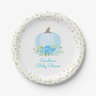 Pumpkin Baby Boy Shower Watercolor Floral Paper Plate