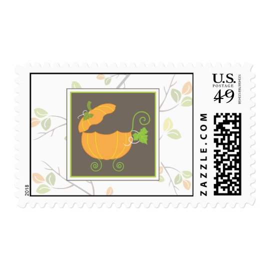 Pumpkin Baby Carriage Postage Stamp