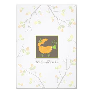 "Pumpkin Baby Carriage Shower Invitation 5"" X 7"" Invitation Card"