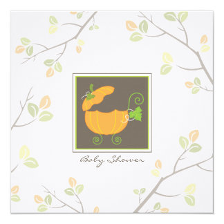 "Pumpkin Baby Carriage Shower Invitation 5.25"" Square Invitation Card"