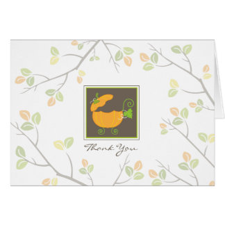 Pumpkin Baby Carriage Thank You Card