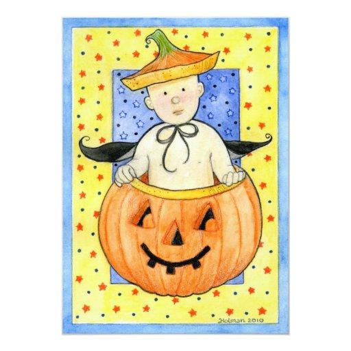Pumpkin Baby Halloween Invitation