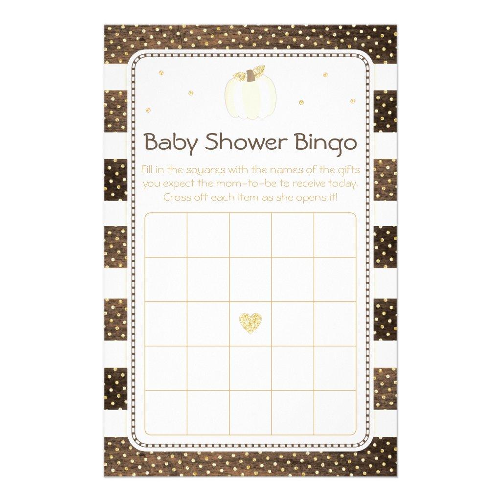 Pumpkin Baby Shower Bingo Game, Wood Ivory Gold Flyer