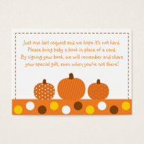 Pumpkin Baby Shower Book Request Cards
