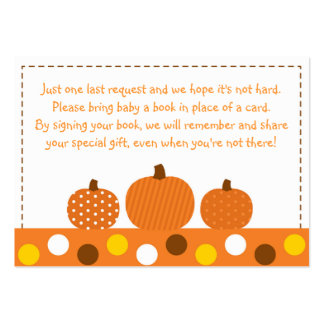 Pumpkin Baby Shower Book Request Cards Business Card Templates