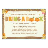 Pumpkin Baby Shower Bring a book Fall Autumn leave Invitation