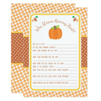 Pumpkin Baby Shower Game - Who Knows Mommy Best Card