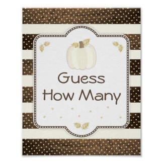 Pumpkin Baby Shower Guess How Many Game on Wood Poster
