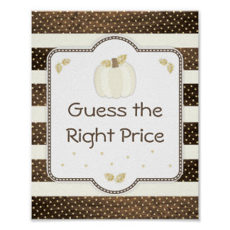 Pumpkin Baby Shower Guess Price Game, Wood Ivory Poster