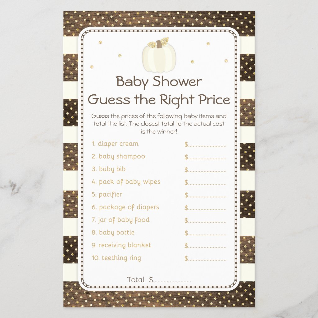 Pumpkin Baby Shower Guess Right Price, Wood Ivory
