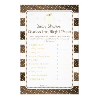 Pumpkin Baby Shower Guess Right Price, Wood Ivory Flyer