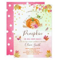 Pumpkin Baby shower invitation Autumn Fall Pink