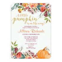 Pumpkin baby shower invitation, fall baby shower card