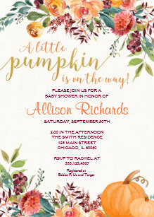 Pumpkin baby shower invitations announcements zazzle pumpkin baby shower invitation fall baby shower invitation filmwisefo