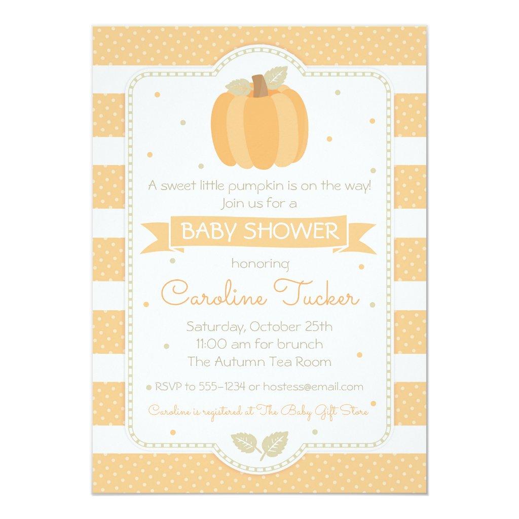 Pumpkin Baby Shower Invitation Gender Neutral