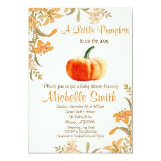 Pumpkin Baby Shower Invitation, Little Pumpkin Card