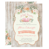Pumpkin Baby Shower Invitation Rustic Pumpkin