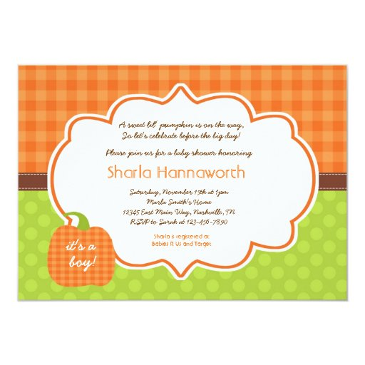 Pumpkin Baby Shower invite boy or girl neutral