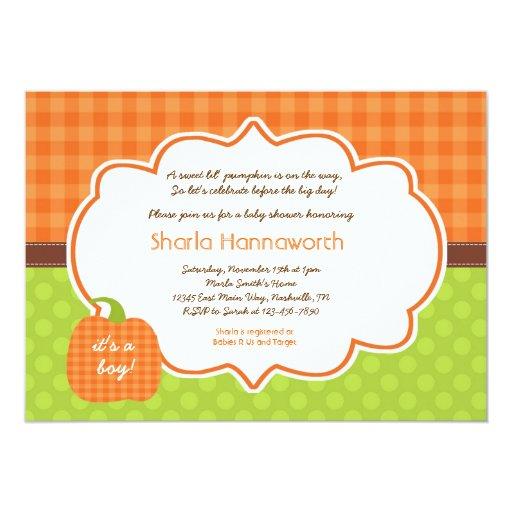 Pumpkin Baby Shower invite boy or girl neutral
