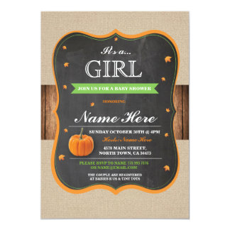 Pumpkin Baby Shower It's a Girl Party wood Invite