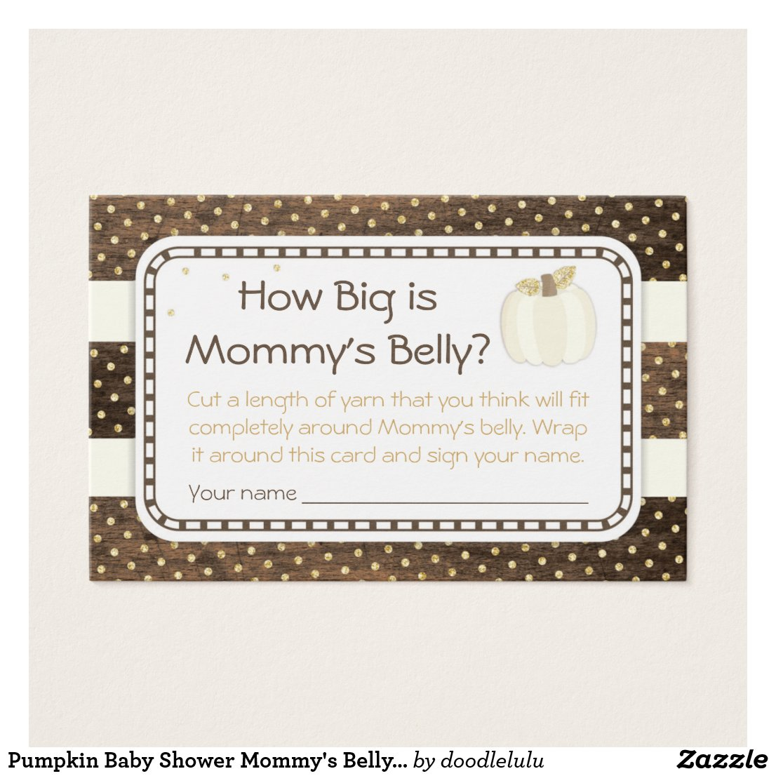 Pumpkin Baby Shower Mommy's Belly Game, Wood Ivory