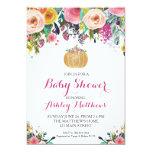 Pumpkin Baby Shower Pink & Gold Glitter Card