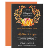 Pumpkin Baby Shower | Rustic Autumn Chalkboard Card