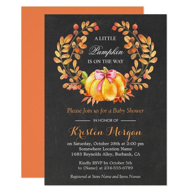 Pumpkin Baby Shower | Rustic Autumn Chalkboard Card