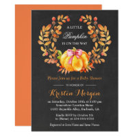 Pumpkin Baby Shower | Rustic Autumn Chalkboard Invitation