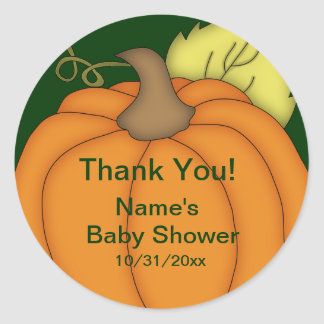 Pumpkin Baby Shower Thank You Stickers
