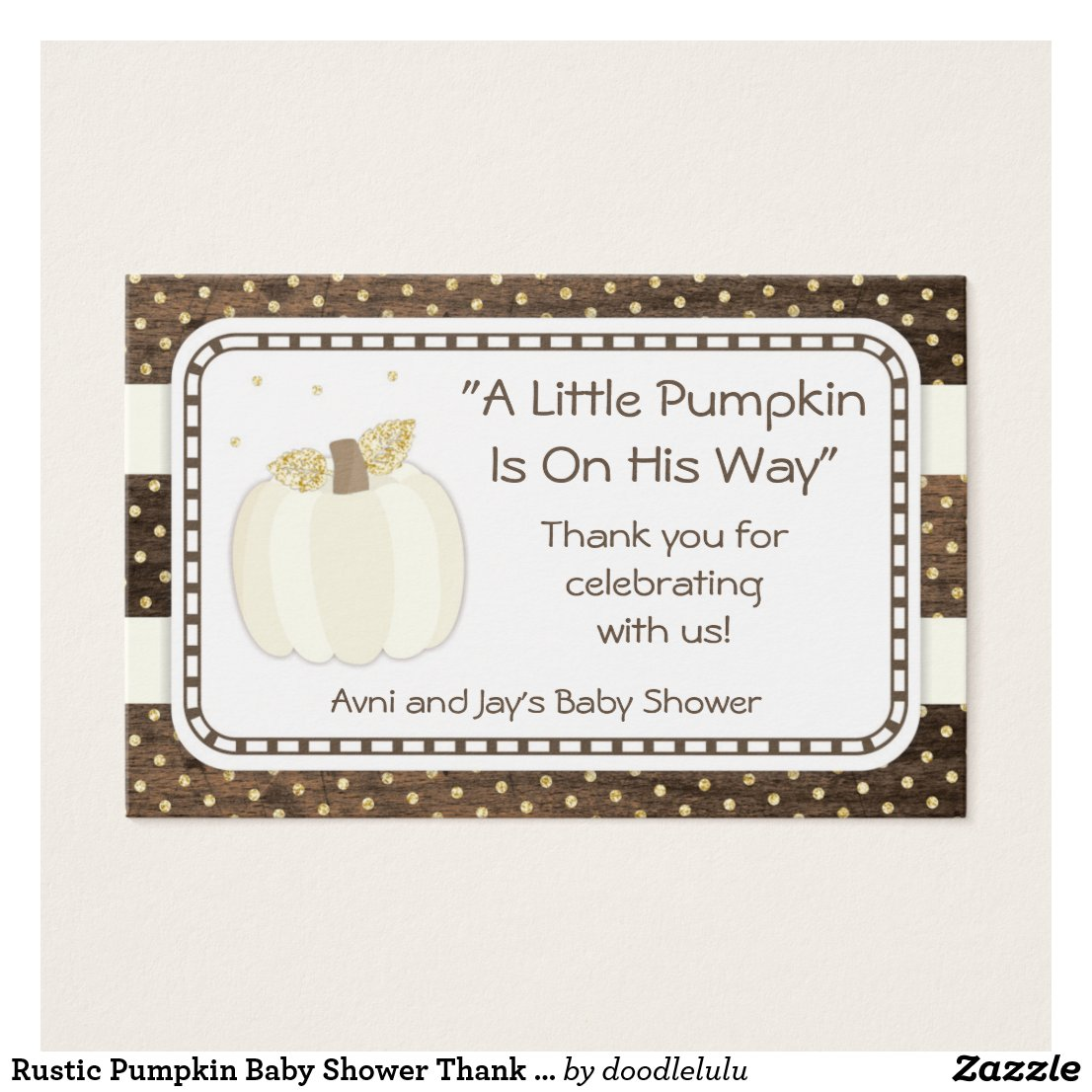 Pumpkin Baby Shower Thank You Tag, Wood Ivory Gold
