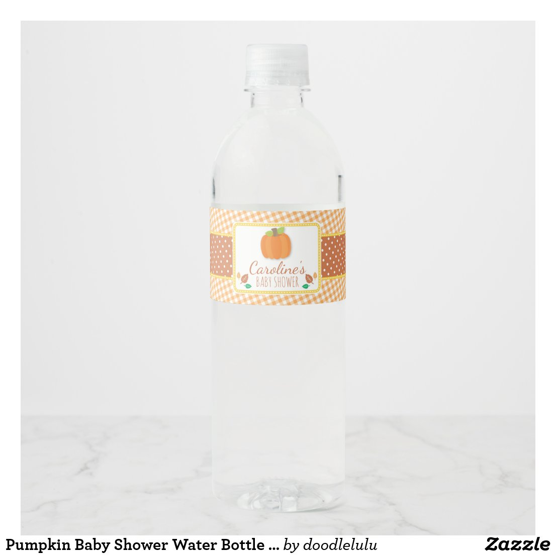 Pumpkin Baby Shower Water Bottle Label