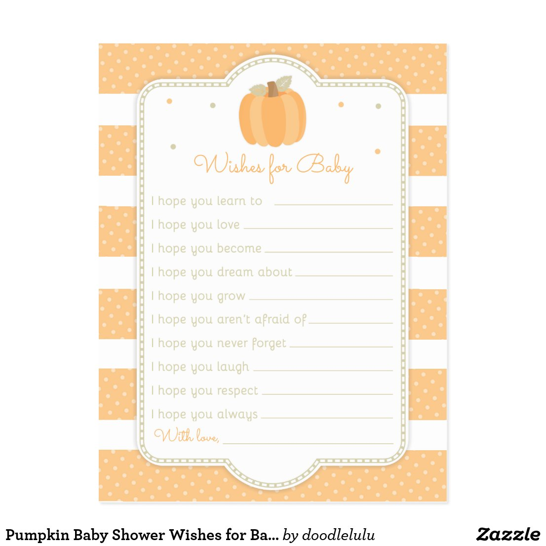 Pumpkin Baby Shower Wishes for Baby Postcard