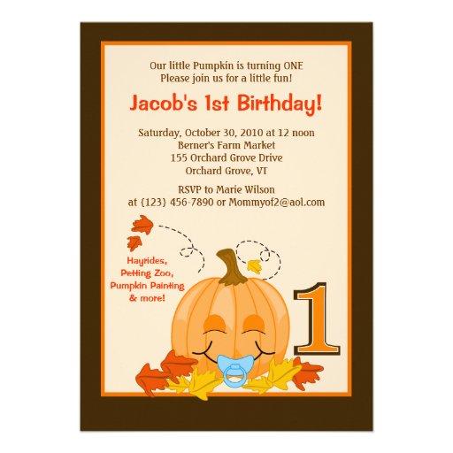 "Pumpkin Baby's 1st Birthday Halloween 5x7 Invite 5"" X 7"