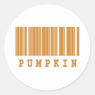 pumpkin barcode design classic round sticker