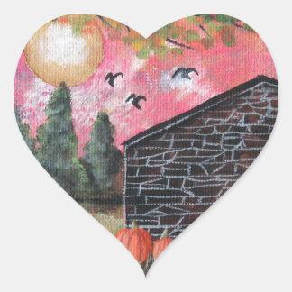 Pumpkin Barn Heart Sticker