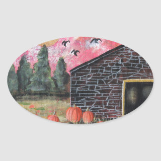Pumpkin Barn Oval Sticker