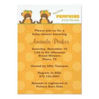 "Pumpkin Bear Baby Shower Invitation 5"" X 7"" Invitation Card"