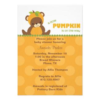 Pumpkin Bear Baby Shower Invitation Cards