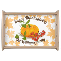 Pumpkin berries, leaves fall Happy Thanksgiving Serving Tray