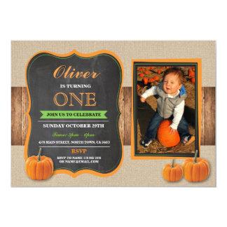 Pumpkin Birthday ANY AGE Invite Party Photo