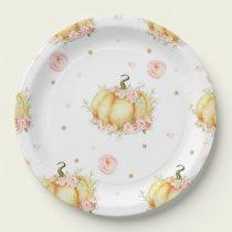 Pumpkin Birthday Baby Shower Paper Plates
