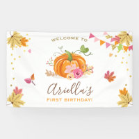 Pumpkin Birthday backdrop Banner Fall Autumn Girl