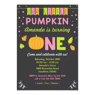 Pumpkin Birthday Invitation, 1st Birthday, pink Card