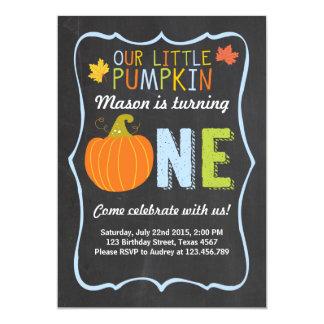 Pumpkin Birthday invitation Blue First Birthday