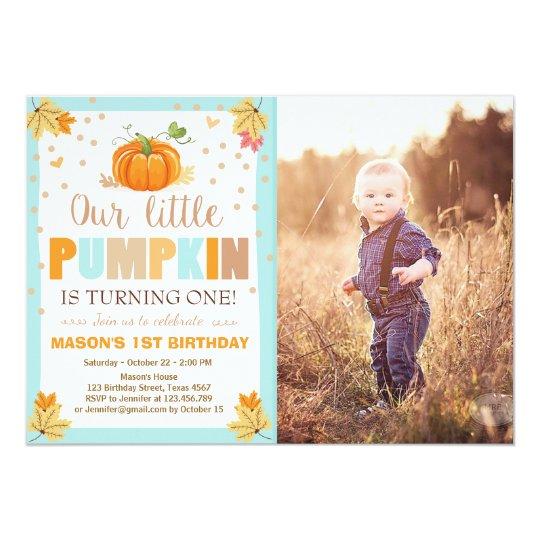 pumpkin birthday invitation boy birthday fall blue zazzle com