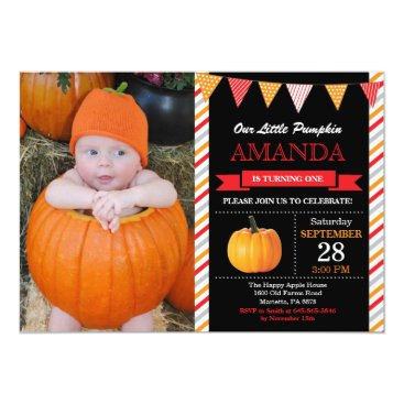 Halloween Themed Pumpkin Birthday Invitation Orange and Red