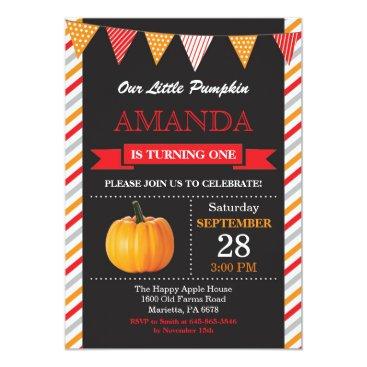 Halloween Themed Pumpkin Birthday Invitation Orange and Red