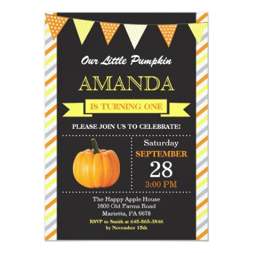 Halloween Themed Pumpkin Birthday Invitation Orange and Yellow