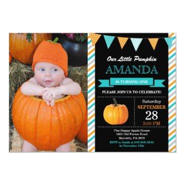 Halloween Themed Pumpkin Birthday Invitation Orange Aqua Turquoise